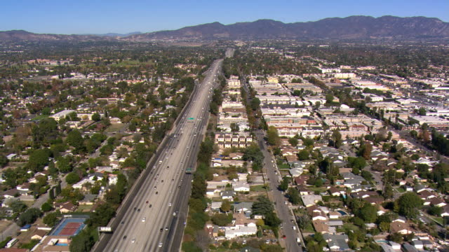 Following freeway in San Fernando Valley, California. Shot in 2008.