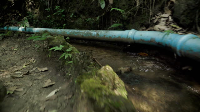 following long water plastic tube in forest by running - sidewalk gutter stock videos & royalty-free footage