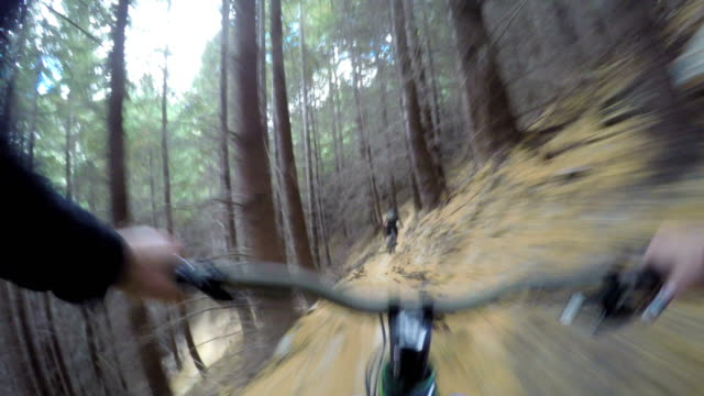 pov following mountain biker down technical trails - rucksack stock videos & royalty-free footage