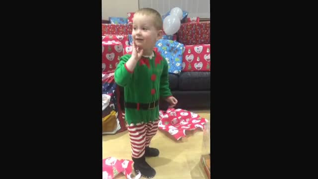 following on from his discovery of santa's footprints through the house on christmas morning, little archie from aberdeen was even more delighted to... - christmas gift stock videos & royalty-free footage