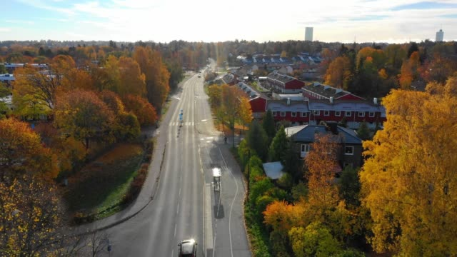following road, flying over suburban stockholm, apartment buildings, villas - rural scene stock videos & royalty-free footage