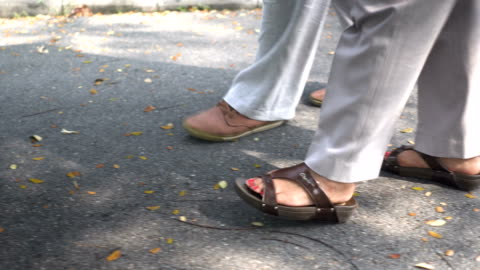 following side view: foot of senior husband walking besides wife in park - grey hair stock videos & royalty-free footage