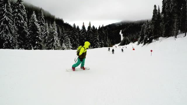 次スノーボーダー下り坂 - 滑る点の映像素材/bロール