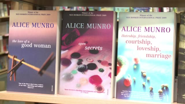 following the announcement that canadas alice munro has been awarded the nobel literature prize a representative of foyles bookshop in london says... - nobel prize in literature stock videos & royalty-free footage