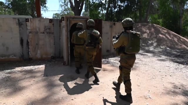 following the exposure of attack tunnels dug into israel by hamas in gaza and hezbollah in lebanon the idf uses virtual reality technology to train... - israeli military stock videos & royalty-free footage
