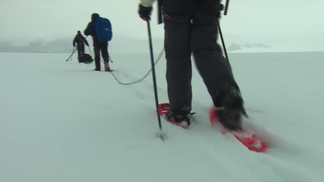 vídeos de stock e filmes b-roll de cu, pov, following three hikers crossing snowfield, rear view, los glaciares national park, patagonia, argentine - grupo pequeno de pessoas