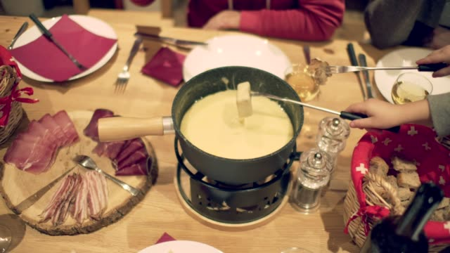 fondue - chalet video stock e b–roll