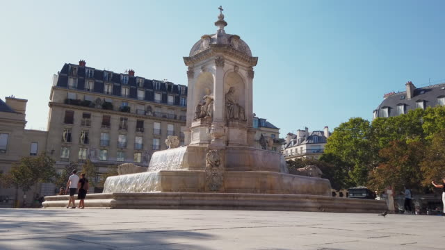 ws fontaine saint-sulpice, paris, france - ornate stock videos & royalty-free footage