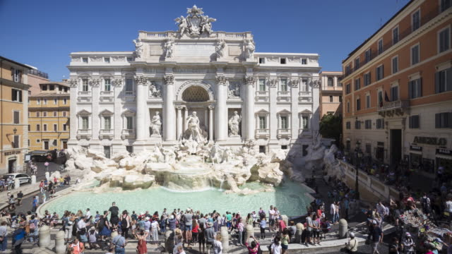 fontana di trevi or trevi fountain, rome. - courtyard stock videos & royalty-free footage