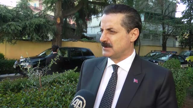 food agriculture and livestock minister faruk celik warns albanian officials about the dangerous fetullah terrorist organization the group behind... - tirana stock videos and b-roll footage