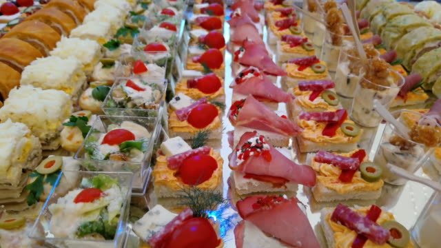 food and appetizers - aperitivo video stock e b–roll