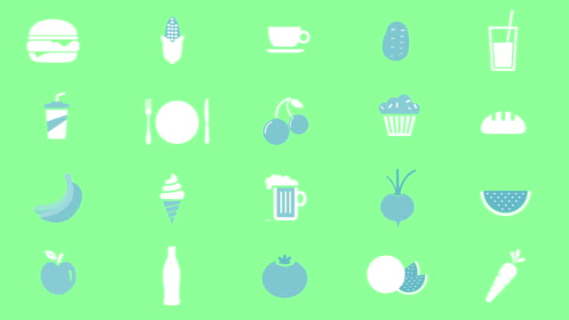 stockvideo's en b-roll-footage met voedsel en dink pictogrammen animatie - koffie drank