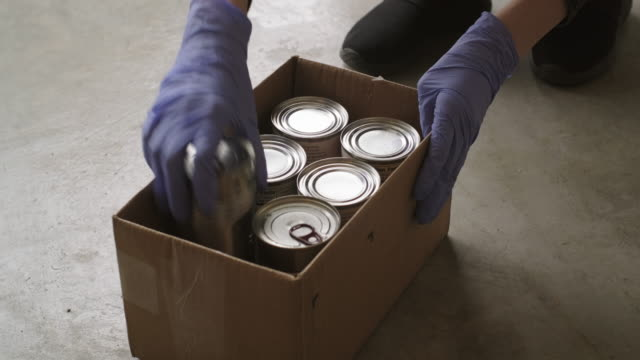 food bank donation center - canned food stock videos & royalty-free footage