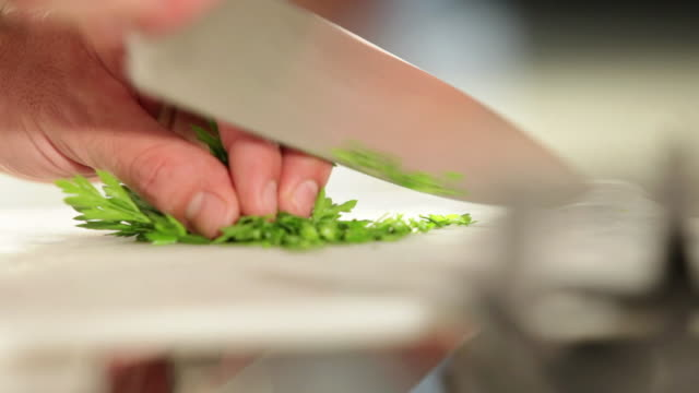 MS Food chef chopping parsley / Sao Paulo, Brazil