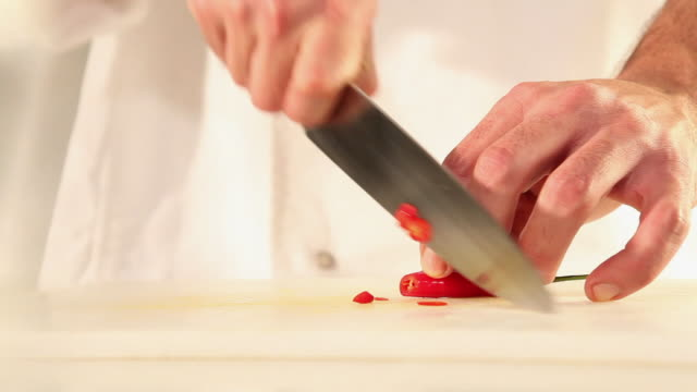 ms food chef chopping red chilly pepper / sao paulo, brazil - cooking utensil stock videos & royalty-free footage