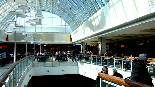 food court in the scarborough town centre mall in toronto - market retail space stock videos & royalty-free footage