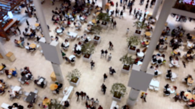 food court on a shopping mall - centro commerciale suburbano video stock e b–roll