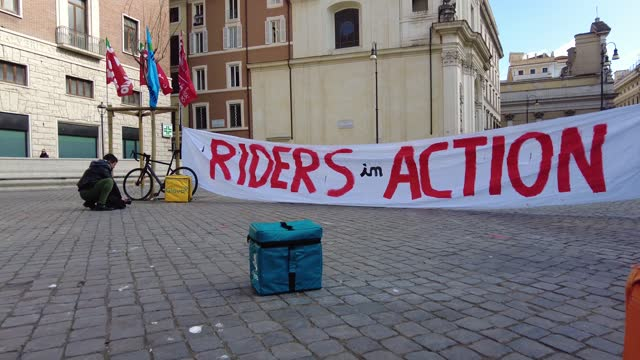 food delivery workers with bicycles and bags strike and protest for a fair contract against exploitation at work on march 26, 2021 in rome, italy.... - contract stock videos & royalty-free footage