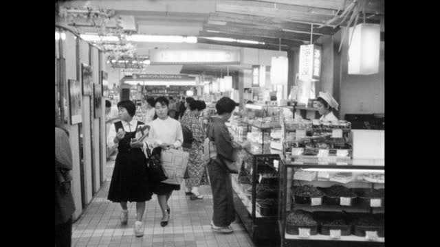 ws food department in a tokyo department store; 1964 - retail place stock videos & royalty-free footage