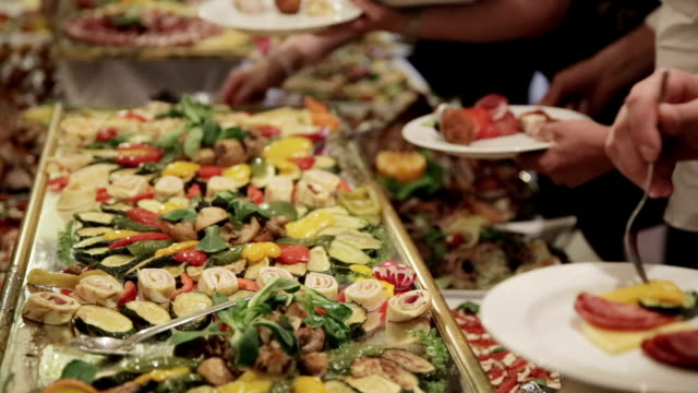 food from catering dinner table - service occupation stock videos and b-roll footage