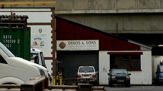 horse meat contamination: food standards agency criticised; england: london: tottenham: ext 'dinos &sons continental foods' warehouse 'dinos and... - www stock-videos und b-roll-filmmaterial