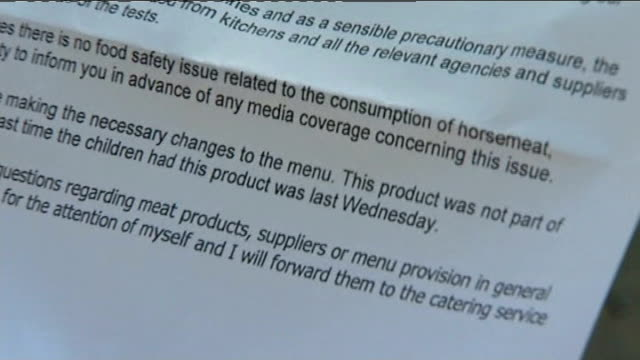 horse meat crisis contamination reports spread to include schools and hospitals lancashire bowerham primary school ext legs of parents and children... - 退院点の映像素材/bロール