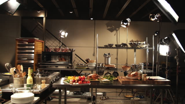 ws, pan, food in commercial kitchen with lighting equipment - photo shoot stock videos & royalty-free footage