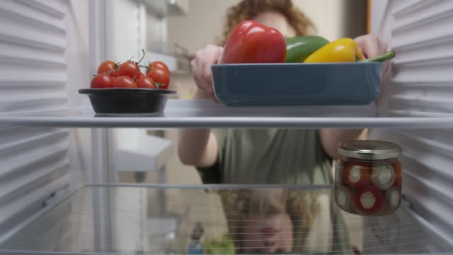 food in the refrigerator - refrigerator stock videos & royalty-free footage