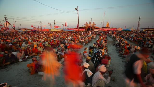 food lines at the kumbh mela hindu festival - large group of people stock videos & royalty-free footage