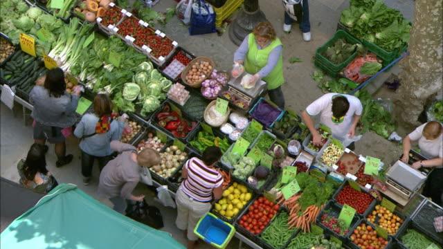 food market in blanes, spain - fruit stock videos & royalty-free footage