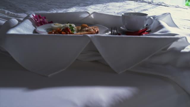MS Food on tray on bed in hotel room, Arnos Vale, Tobago, Trinidad And Tobago