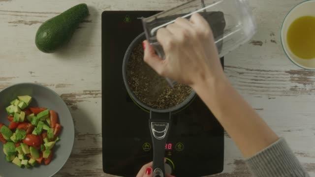 food preparation - quinoa salad stock videos & royalty-free footage