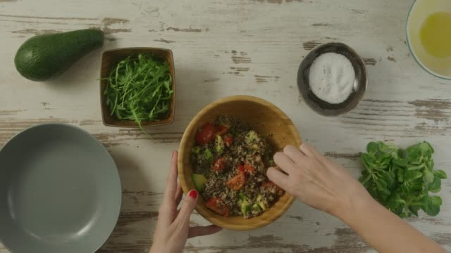 food preparation - avocado salad stock videos & royalty-free footage