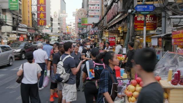 food stall on yaowarat road, chinatown, bangkok, thailand, southeast asia, asia - jinrikisha stock videos and b-roll footage