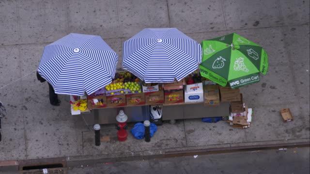 vídeos de stock e filmes b-roll de food vendor in harlem - feirante