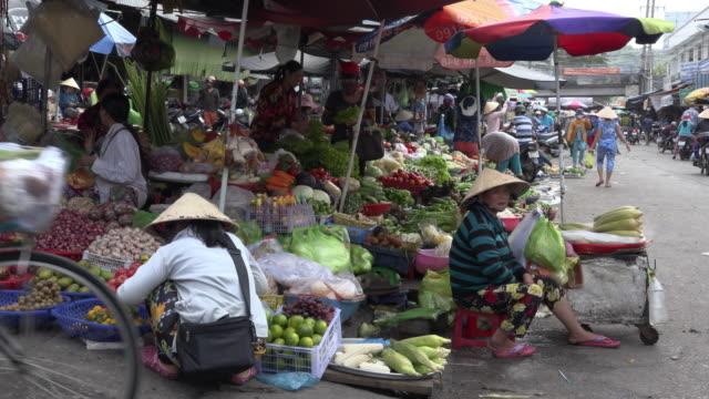 Food vendors at street market