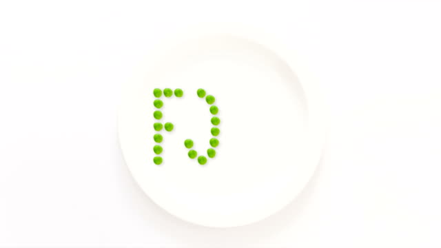 Food written with peas