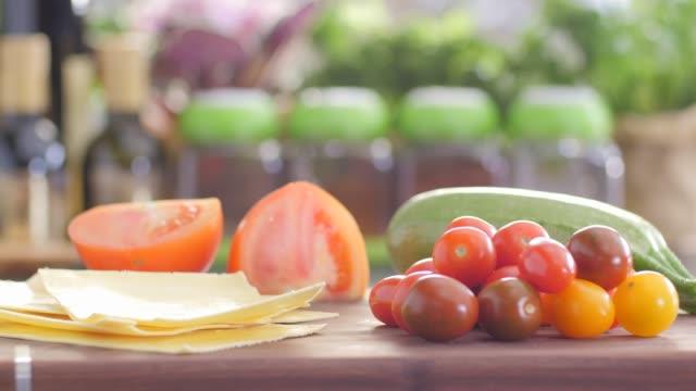 raw food.lasagna. colorful cuisine - lasagna stock videos & royalty-free footage