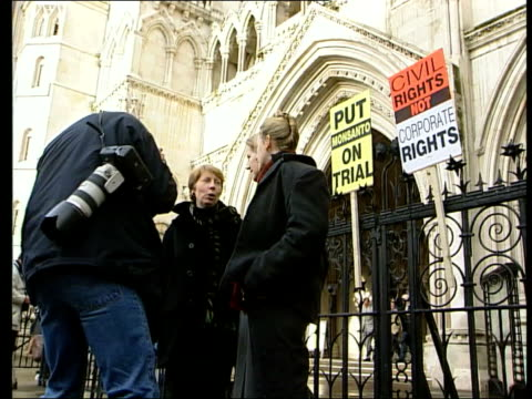 gm foods protest group 'genetix snowball' lose court battle itn london strand the royal courts of justice ext ms three women members of genetix... - {{ collectponotification.cta }} stock videos & royalty-free footage