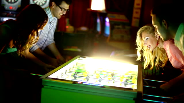 foosball night. - arts culture and entertainment stock videos & royalty-free footage