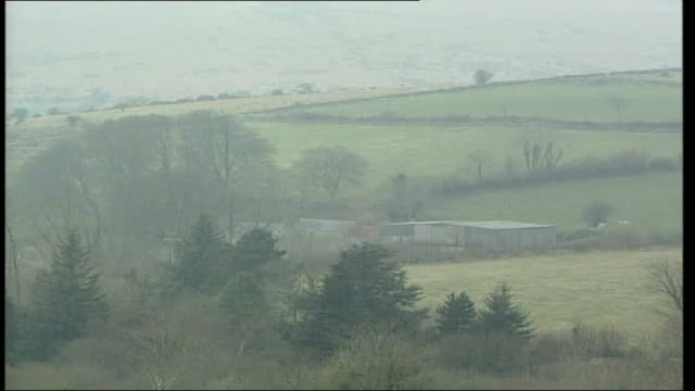 animal disease precautions at dartmoor; england: devon: dartmoor: ext track past sign 'widecombe in the moor' / country church pull out / fields and... - animal mouth stock videos & royalty-free footage