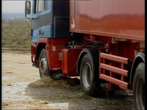 audit office report itn lorries for transporting foot and mouth disease carcasses parked snowie lorry away over disinfected straw maff officials in... - audit stock videos and b-roll footage
