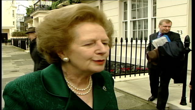 Baroness Thatcher speaks ITN ENGLAND London Baroness Thatcher out of house and along CMS Baroness Thatcher as interviewed SOT We are not talking...