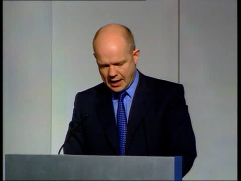 election row/army england london conservative central office william hague mp press conference sot the govt should present legislation this week to... - war in afghanistan: 2001 present stock-videos und b-roll-filmmaterial