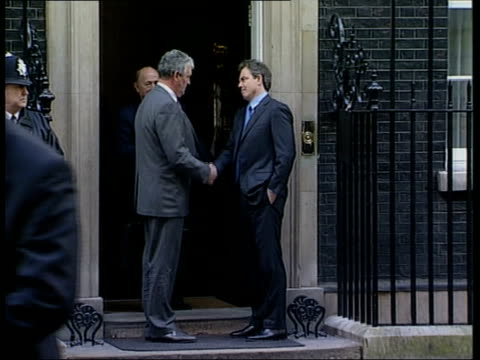 More new cases/Jedburgh ITN Downing Street Tony Blair MP shaking hands with Ben Gill then Gill away Ben Gill press conference SOT One of these cases...