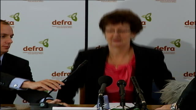 foot and mouth disease: temporary control zone set up in west midlands; england: int dr debby reynolds along and taking seat at press conference - foot and mouth disease stock videos & royalty-free footage