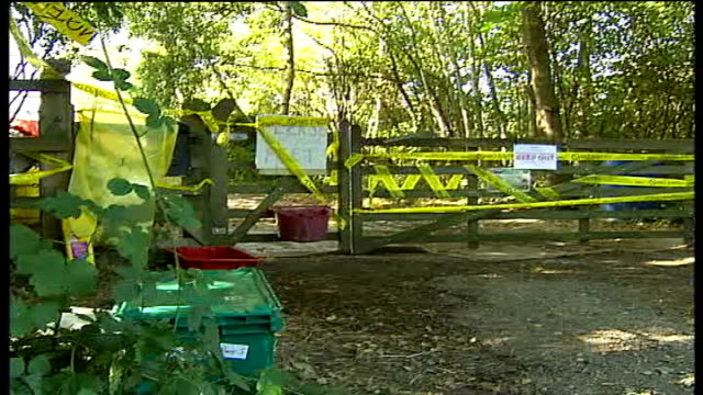 outbreak confirmed in virginia water surrey virginia water ext yellow defra cordon tape and 'keep out' signs on farm gate close shot of 'keep out'... - keep out sign stock videos & royalty-free footage