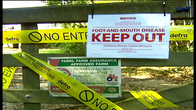 outbreak confirmed in virginia water virginia water farm gate covered with yellow defra cordon tape and 'keep out' sign yellow defra plastic bags of... - keep out sign stock videos & royalty-free footage