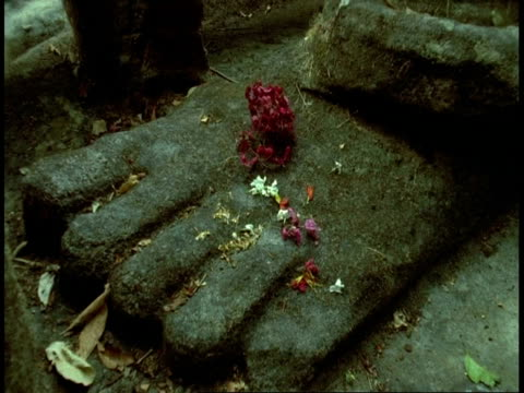 cu foot of hindu statue with flowers on, bandhavgarh national park, india - national icon stock videos and b-roll footage