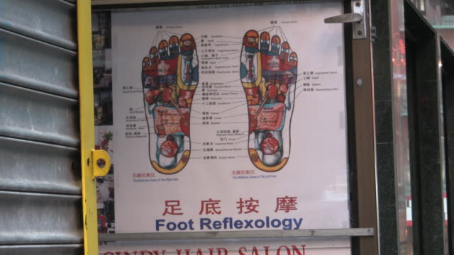 cu, foot reflexology sign in chinatown, new york city, new york, usa - chinatown stock videos & royalty-free footage